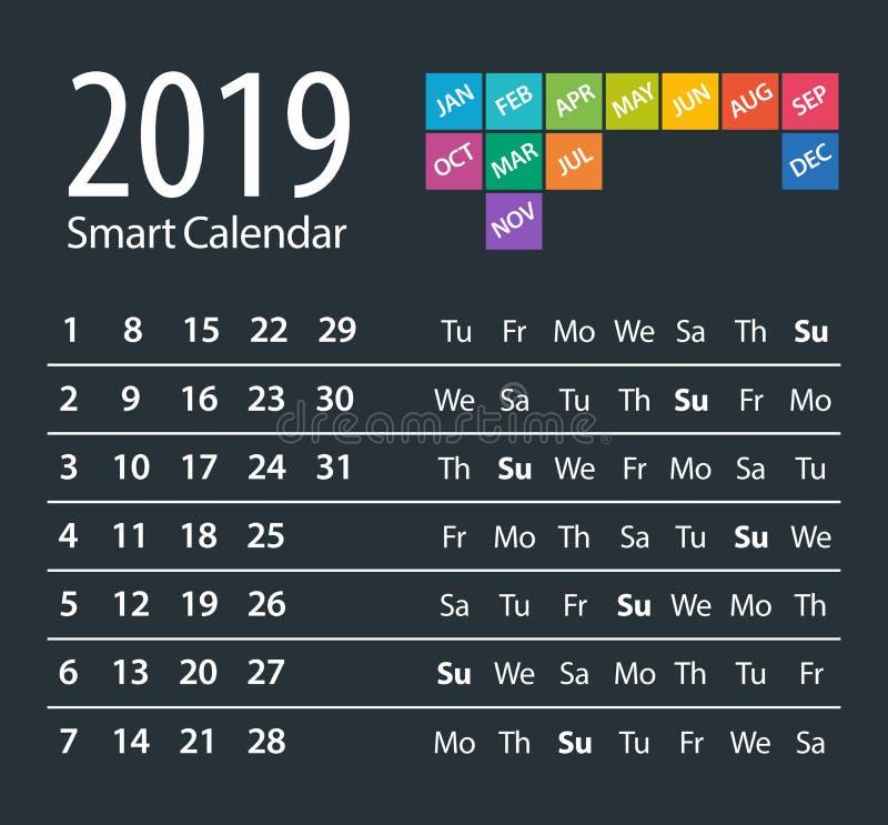 Calendário 2019 esperto - ilustração do vetor molde Zombaria acima ilustração royalty free