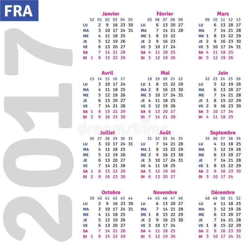 Calendário francês 2017 ilustração do vetor