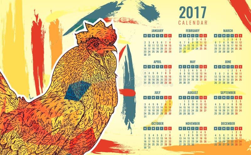 Calendário 2017 Galo colorido - o símbolo do ano novo chinês Vetor ilustração stock