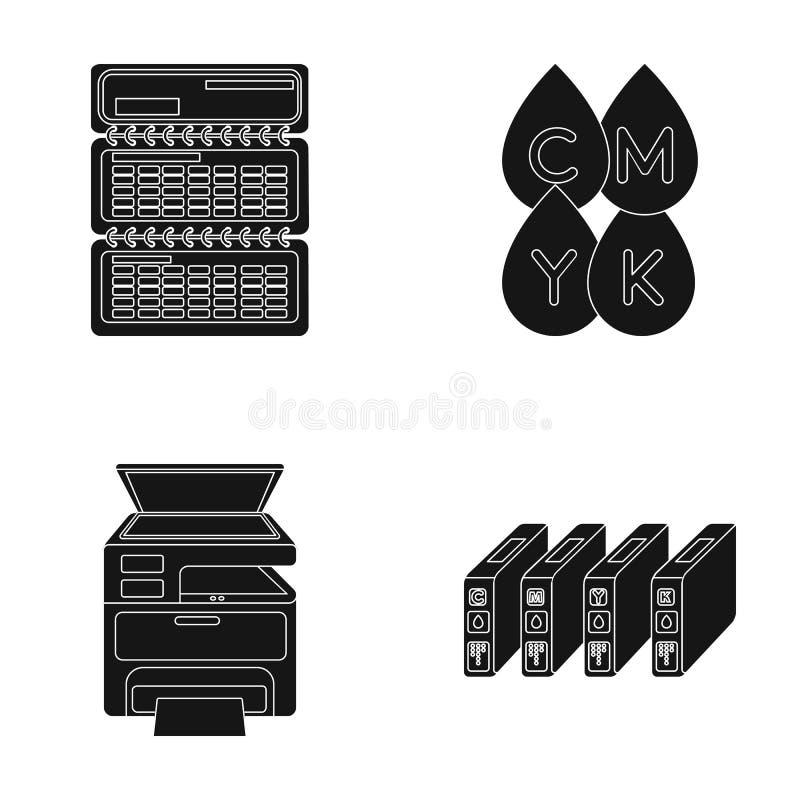 Calendário, gotas da pintura, cartucho, impressora multifunction Os ícones ajustados da coleção da tipografia no estilo preto vec ilustração stock