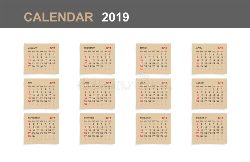 Calendário 2019 - grupo de calendário mensal no papel marrom e no fundo de madeira branco ilustração stock