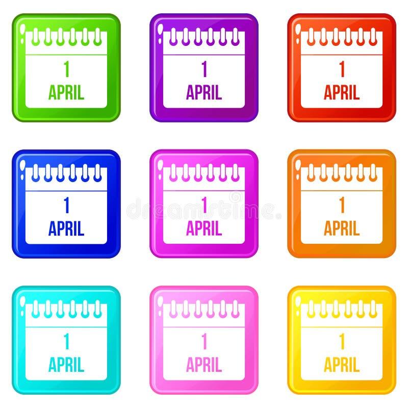 Calendário grupo dos ícones 9 do 1º de abril ilustração do vetor