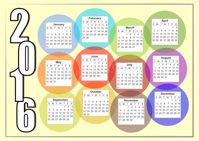 calendário 2016 horizontal com o arco-íris que sobrepõe as bolhas coloridas, cada mês em um círculo separado ilustração do vetor