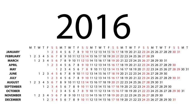 Calendário horizontal para 2016 no branco ilustração stock