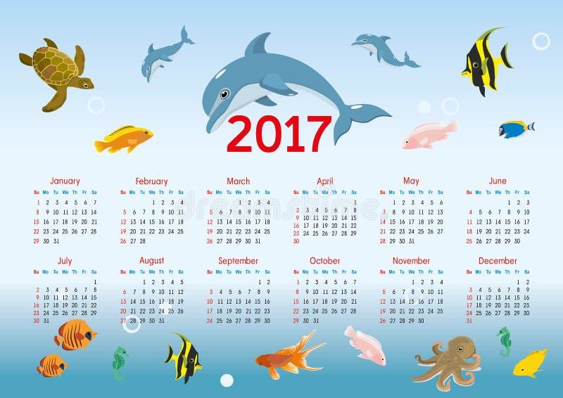 Calendário horizontal 2017 Tema náutico Vetor ilustração do vetor