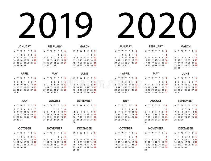 Calendário 2019 2020 - ilustração Começos da semana em segunda-feira ilustração stock