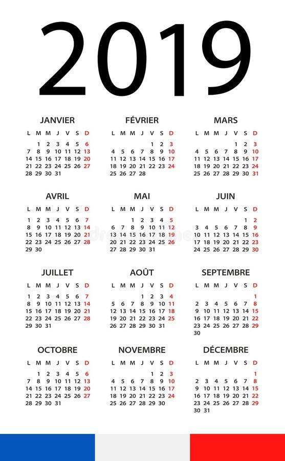 Calendário 2019 - ilustração Versão francesa ilustração do vetor