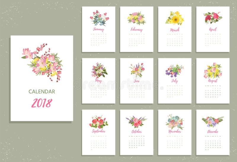 Calendário 2018 imprimível com as flores consideravelmente coloridas ilustração royalty free