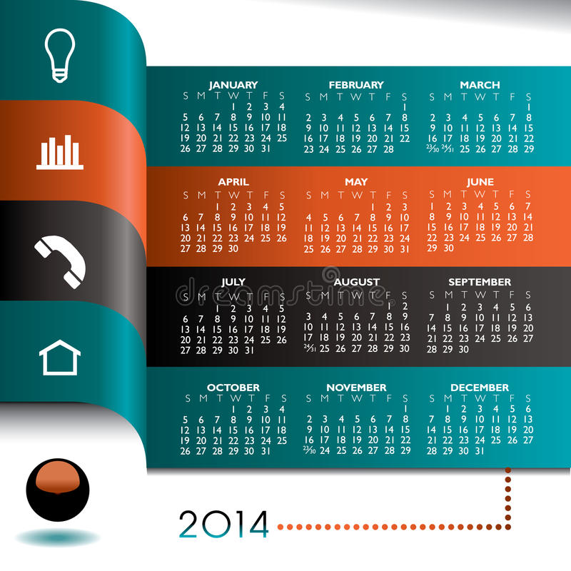 calendário 2014 infographic ilustração royalty free