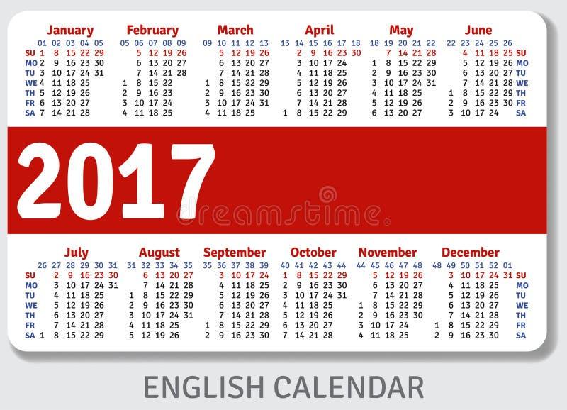 Calendário inglês do bolso para 2017 ilustração stock