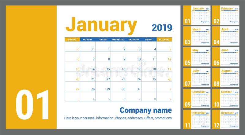 calendário 2019 Calendário inglês Molde amarelo do vetor da cor W ilustração royalty free