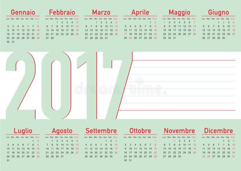 Calendário italiano 2017 da língua horizontal ilustração royalty free