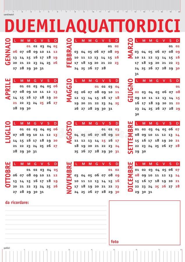 Calendário italiano 2014 das réguas ilustração do vetor