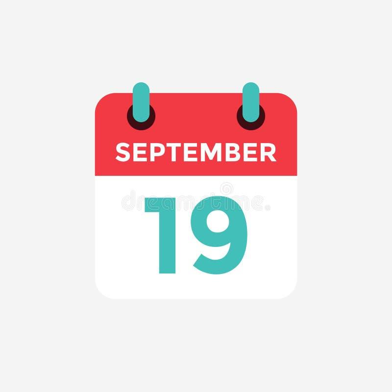Calendário liso do ícone, o 19 de setembro Data, dia e mês ilustração royalty free