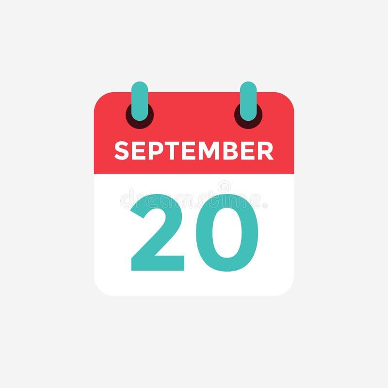 Calendário liso do ícone, o 20 de setembro Data, dia e mês ilustração do vetor