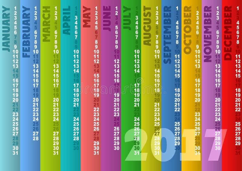 Calendário listrado colorido 2017 ilustração do vetor