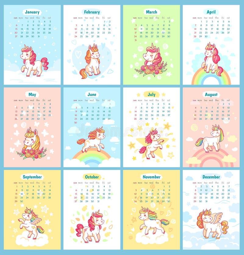 Calendário mágico bonito doce do unicórnio 2019 para crianças Os unicórnios feericamente com desenhos animados do arco-íris vecto ilustração royalty free