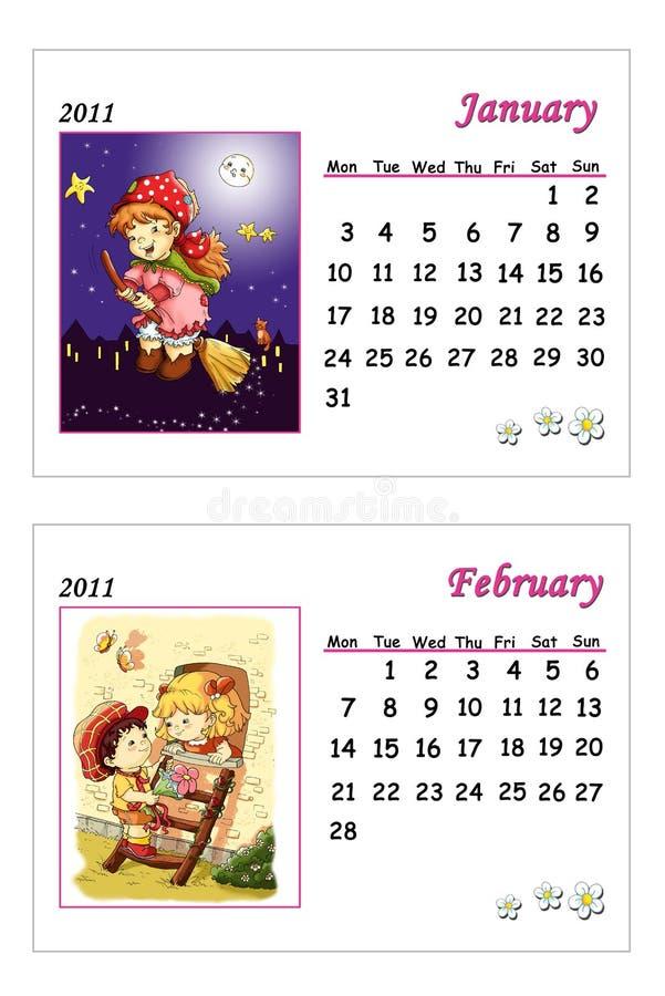 Calendário macio 2011 - janeiro e fevereiro ilustração royalty free