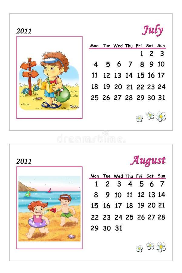 Calendário macio 2011 - julho e agosto ilustração royalty free
