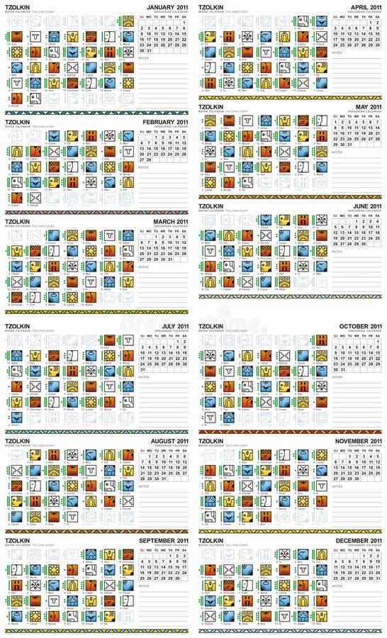 Calendário maia 2011 (americano) ilustração stock