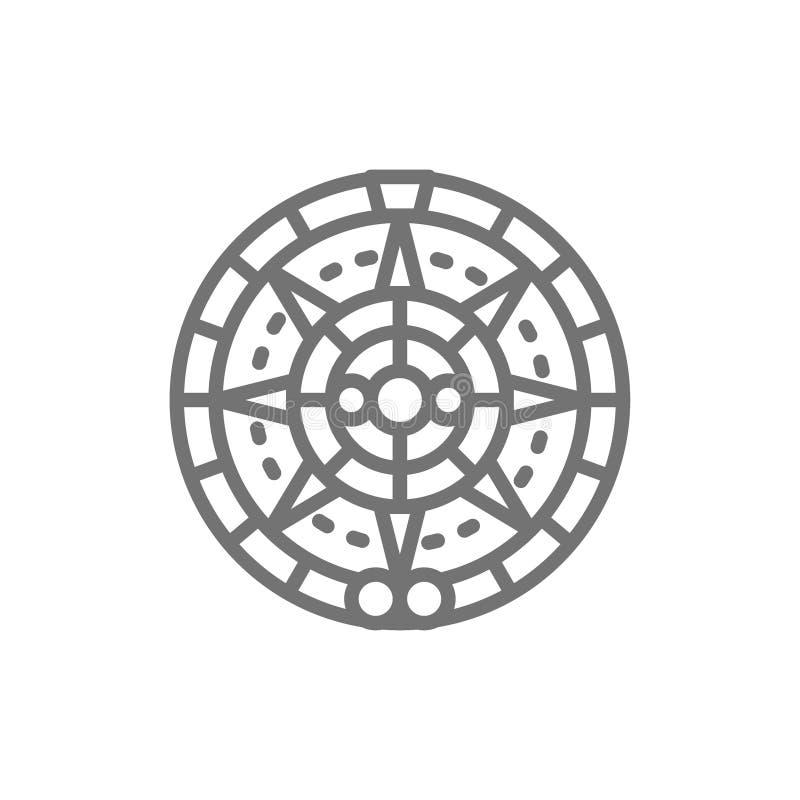 Calendário maia, linha étnica mexicana ícone do ornamento ilustração royalty free