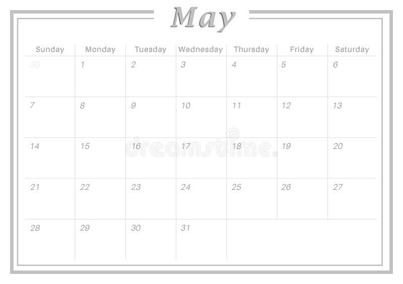 Calendario Maio De 2017 Mensal Ilustracao Stock Ilustracao De