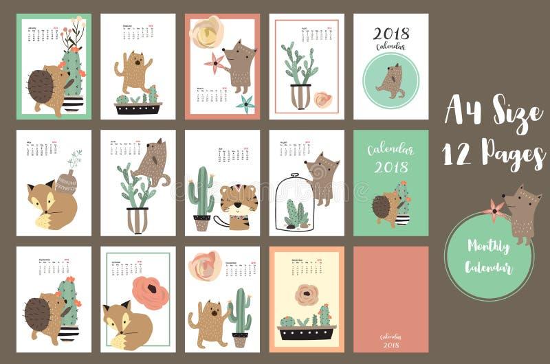 Calendário mensal bonito colorido 2018 com raposa, urso, cacto e por ilustração do vetor