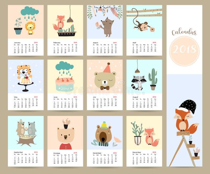 Calendário mensal bonito colorido 2018 com raposa, urso, cacto, flor, imagens de stock royalty free