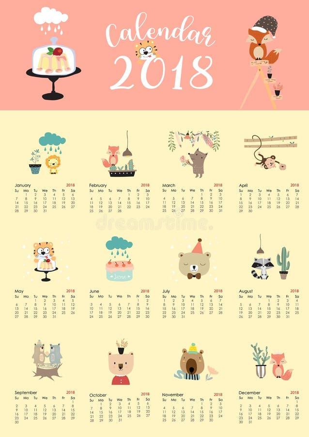 Calendário mensal bonito colorido 2018 com raposa, urso, cacto, flor, foto de stock royalty free