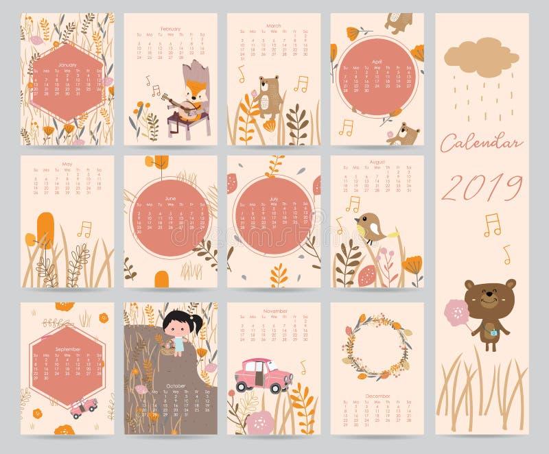 Calendário mensal bonito colorido 2018 com urso, carro, menina, folha, fluxo ilustração do vetor