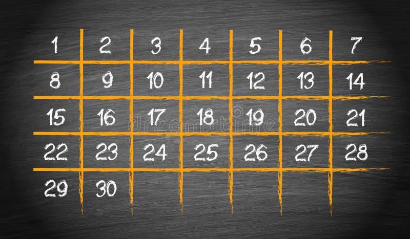 Calendário mensal com 30 dias ilustração royalty free