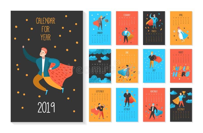 Calendário mensal de 2019 anos com os super-herói lisos dos caráteres dos povos Disposição do molde do calendário com homem e mul ilustração royalty free