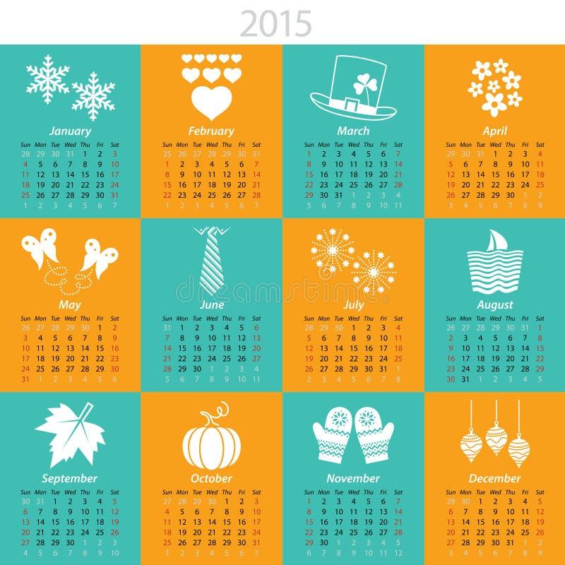 Calendário mensal para 2015 ilustração royalty free