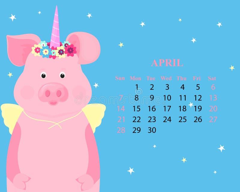 Calendário mensal para abril de 2019 Porco bonito em um traje de um unicórnio do conto de fadas com um chifre e uma grinalda e as ilustração royalty free
