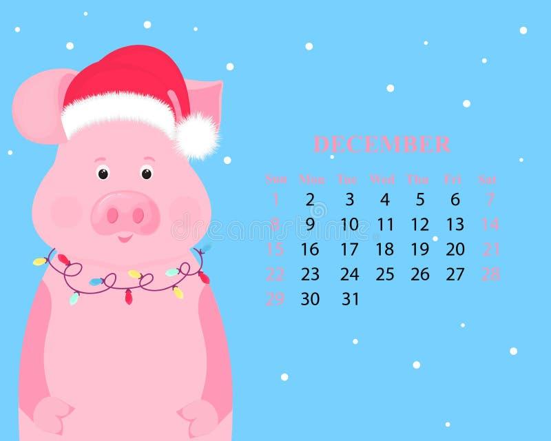 Calendário mensal para dezembro de 2019 Porco bonito em um chapéu de Santa Claus com uma festão Ano novo chinês ilustração do vetor