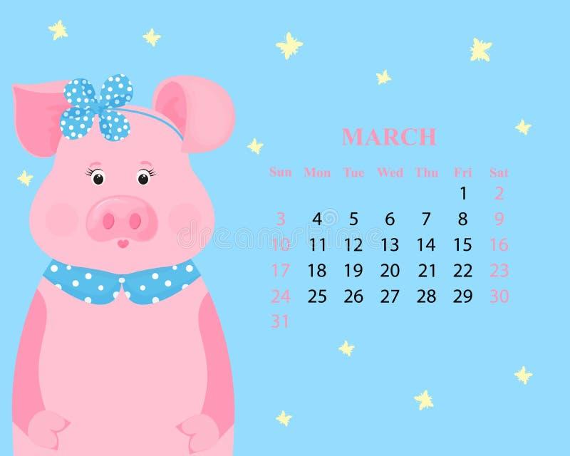 Calendário mensal para março de 2019 Porco bonito em uma aro com uma curva e um colar Animal engraçado Ano novo chinês ilustração do vetor