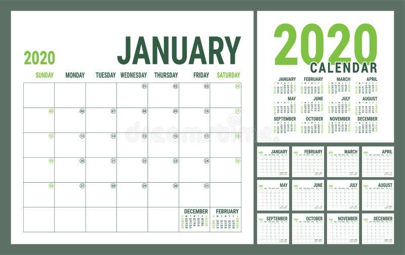 Calendário 2020 Modelo de calender inglês Grade quadrada vetorial Planeamento de negócios do Office Design criativo Cor verde-aze ilustração royalty free