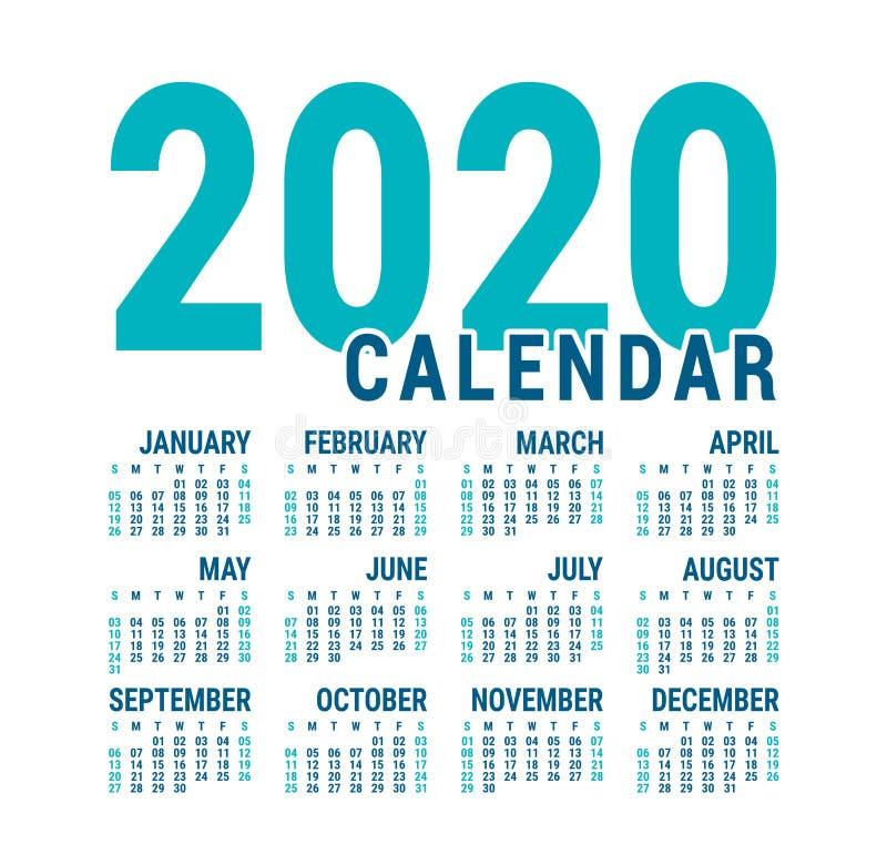 Calendário 2020 Modelo de calender inglês Grade quadrada vetorial Planeamento de negócios do Office Design pronto Cor azul ilustração stock