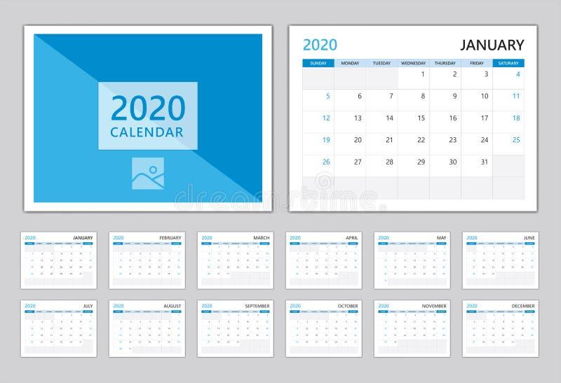 Calendário 2020, modelo de calendário do Set Desk 2020, Pode usar o Place for Photo and Company Logo Tampa azul design moderno ilustração stock