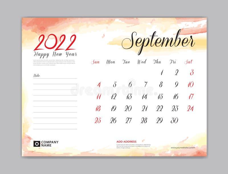 Calendario Modelo 2022 Calendario De 2022 Modelo Modelo De Calendario De Setembro Mes De Projeto Semana De Setembro Inicio Na Impr Ilustracao Do Vetor Ilustracao De Tampa Pintura 215058274