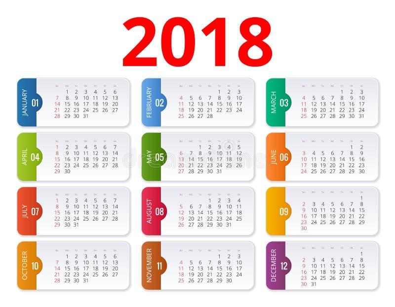 calendário 2018 Molde da cópia A semana começa domingo Orientação do retrato Grupo de 12 meses Planejador por 2018 anos ilustração do vetor