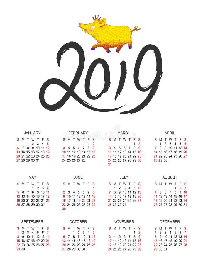 Calendário molde do projeto de um vetor de 2019 anos ilustração do vetor