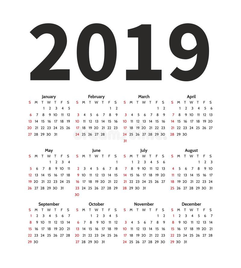 Calendário molde do projeto de um vetor de 2019 anos Estilo simples do minimalizm A semana parte de domingo Orientação do retrato ilustração stock