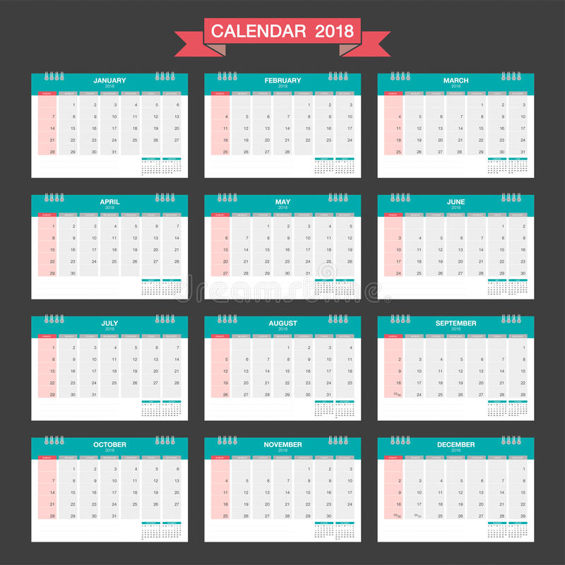 Calend rio 2018 molde do projeto moderno de calend rio de mesa ilustra o do vetor ilustra o - Plantilla calendario de mesa ...