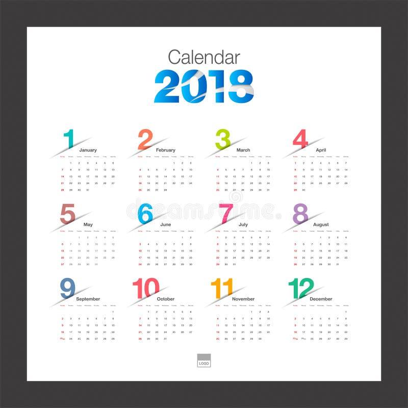 Calend rio 2018 molde do projeto moderno de calend rio de mesa come os da semana ilustra o do - Plantilla calendario de mesa ...