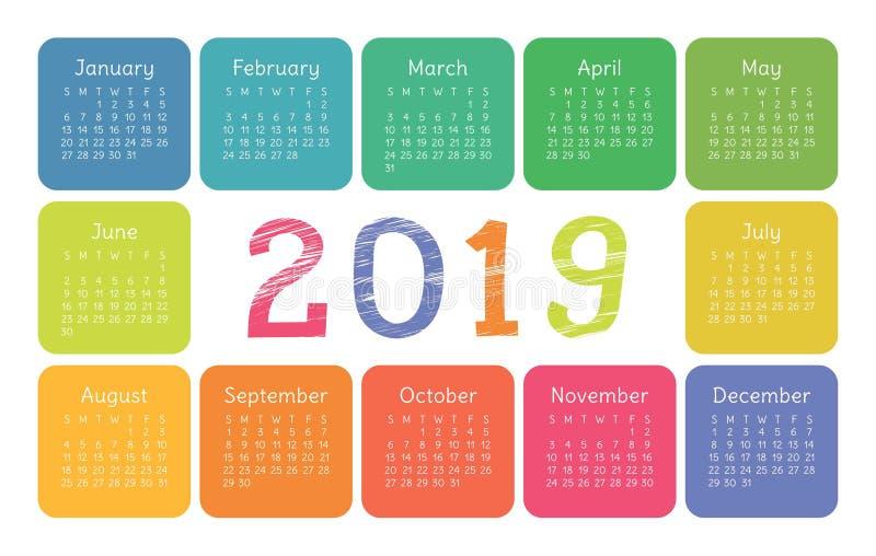 Calendário 2019 Molde do vetor Calendário inglês Grupo colorido ilustração stock