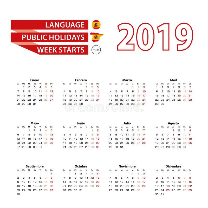 Calendário 2019 na língua espanhola com feriados a contagem ilustração royalty free