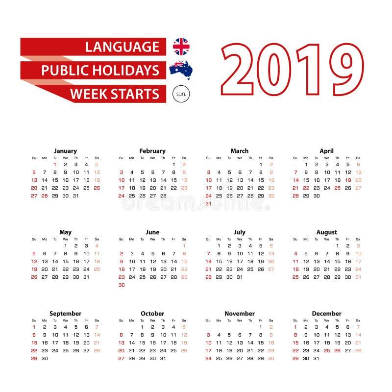 Calendário 2019 na língua inglesa com feriados a contagem ilustração royalty free