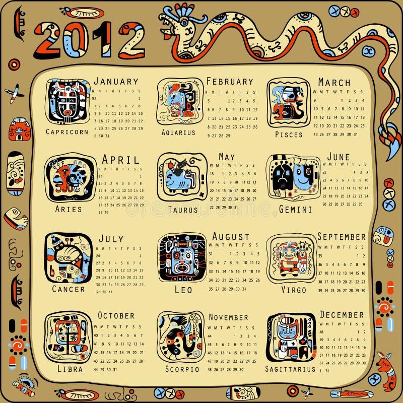 Calendário no estilo indiano do Maya ilustração stock