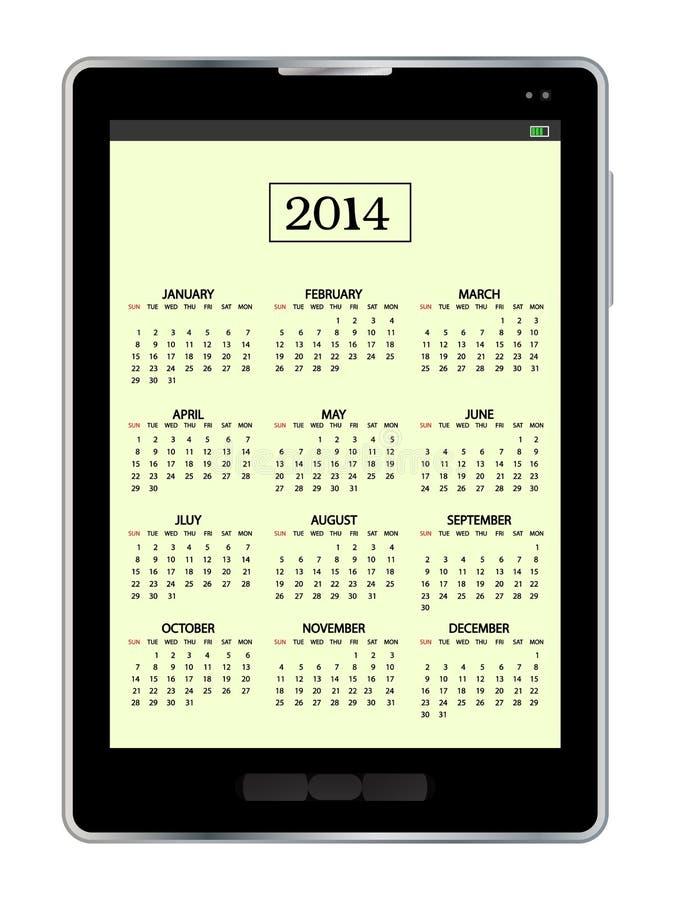 Calendário no PC da tabuleta ilustração do vetor